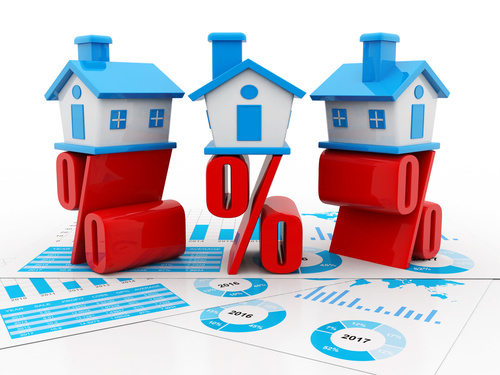 3d house and Percentage sign,  Real estate concept. 3d rendering
